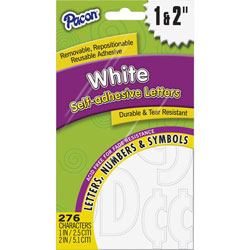 Pacon Self Adhesive Letters, 1 in-2 in, 276 Char, 12/PK, WE