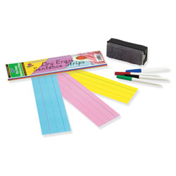 Pacon Dry Erase Sentence Strips, 12 x 3, Assorted, 20 per Pack