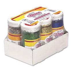 Pacon Spectra Glitter, .04 Hexagon Crystals, Assorted, 4 oz Shaker-Top Jar, 6/Pack