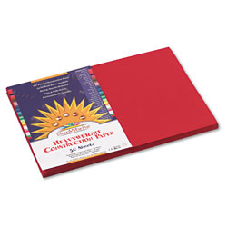 Pacon Construction Paper, 58lb, 12 x 18, Holiday Red, 50/Pack