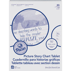 Pacon Picture Story Chart Tablet, 24 in x 32 in, 1-1/2 in Rld, 25/Sheets, WE