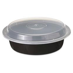 Pactiv VERSAtainers, 1-Comp, Black/Clear, 24oz, 7 india, 150/Carton