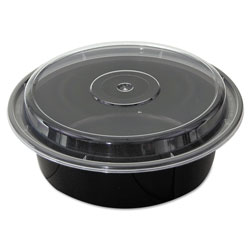 Pactiv VERSAtainers, Black/Clear, 32 oz, 7 inDia x 2 inH, 150/Carton