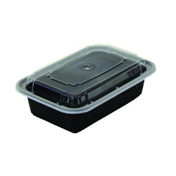 Pactiv Rectangular Microwavable Container with Lid, 28 OZ, Black