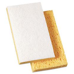 Boardwalk Scrubbing Sponge, Light Duty, 3.6 x 6.1, 0.7 in Thick, Yellow/White, Individually Wrapped, 20/Carton