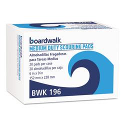 Boardwalk Medium Duty Scour Pad, Green, 6 x 9, 20/Carton