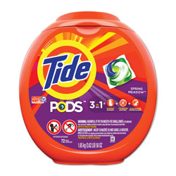 Tide PODS Laundry Detergent Liquid Pacs, High Efficiency Compatible, Spring Meadow Scent, 72 Per Pack