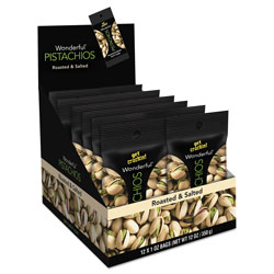 Paramount Wonderful Pistachios, Salt and Pepper, 1.25 oz Pack, 12/Box