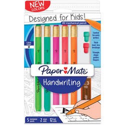 Papermate® Mechanical Pencils for Handwriting, Triangular, 5/PK, Assorted