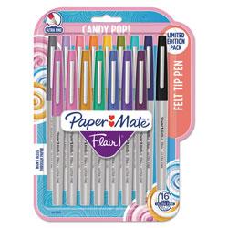 Papermate® Flair Felt Tip Stick Marker Pen, 0.4mm, Assorted Ink, Gray Barrel, 16/Pack