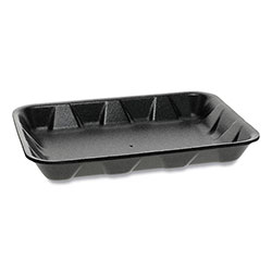Pactiv Supermarket Tray, #4D1, 1-Compartment, 9.5 x 7 x 1.25, Black, 500/Carton