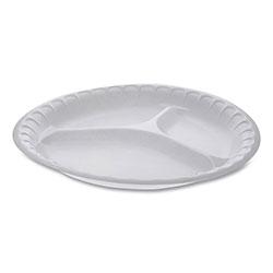 Pactiv Unlaminated Foam Dinnerware, 3-Compartment Plate, 10.25 in Diameter, White, 540/Carton