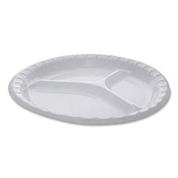 Pactiv Laminated Foam Dinnerware, 3-Compartment Plate, 10.25 in Diameter, White, 540/Carton