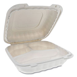 Pactiv EarthChoice SmartLock Microwavable Hinged Lid Containers, 3 Compartment, 8.31 x 8.35 x 3.1, White, 200/Carton