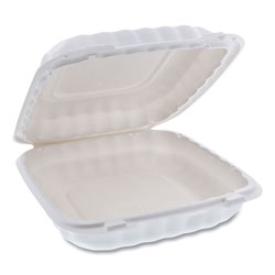 Pactiv EarthChoice SmartLock Microwavable Hinged Lid Containers, 9 x 9 x 3.1, White, 100/Carton