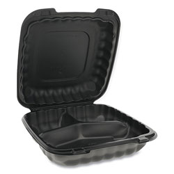 Pactiv EarthChoice SmartLock Microwavable Hinged Lid Containers, 3 Compartment, 9.33 x 8.88 x 3.1, Black, 120/Carton