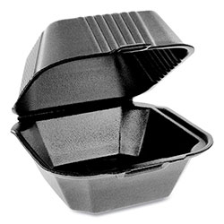 Pactiv SmartLock Foam Hinged Containers, Sandwich, 5.75 x 5.75 x 3.25, 1-Compartment, Black, 504/Carton