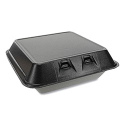 Pactiv SmartLock Foam Hinged Containers, Large, 9 x 9.13 x 3.25, 1-Compartment, Black, 150/Carton