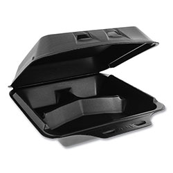 Pactiv SmartLock Foam Hinged Containers, Large, 9 x 9.5 x 3.25, 3-Compartment, Black, 150/Carton