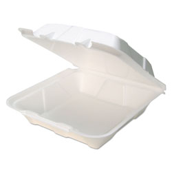Pactiv Foam Hinged Lid Containers, White, 9 x 9 x 3.5, 150/Carton