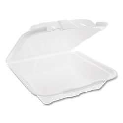 Pactiv Foam Hinged Lid Containers, Dual Tab Lock Economy, 9.13 x 9 x 3.25, 1-Compartment, White, 150/Carton
