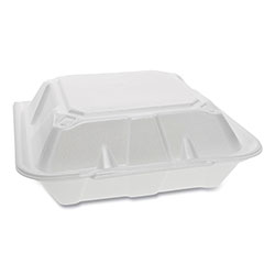Pactiv Foam Hinged Lid Containers, Dual Tab Lock, 9.13 x 9 x 3.25, 3-Compartment, White, 150/Carton