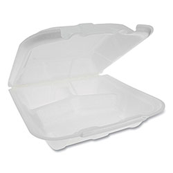 Pactiv Foam Hinged Lid Containers, Dual Tab Lock Economy, 9.13 x 9 x 3.25, 3-Compartment, White, 150/Carton