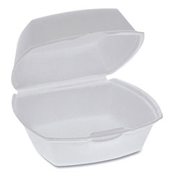 Pactiv Foam Hinged Lid Containers, Single Tab Lock, 5.13 x 5.13 x 2.5, 1-Compartment, White, 500/Carton