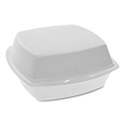 Pactiv Foam Hinged Lid Containers, Single Tab Lock, 6.38 x 6.38 x 3, 1-Compartment, White, 500/Carton