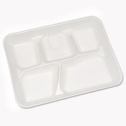 Pactiv Lightweight Foam School Trays, 5-Compartment, 8.25 x 10.5 x 1, White, 500/Carton