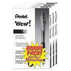 Pentel WOW! Retractable Ballpoint Pen Value Pack, Medium 1 mm, Black Ink/Barrel, 36/Pack