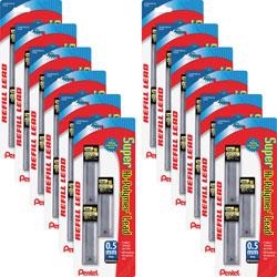 Pentel Hi-Polymer Lead, 0.5 mm, HB, Fine, 30/TB, 36 Tubes/BX, Black