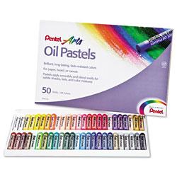 Pentel Oil Pastel Set With Carrying Case,45-Color Set, Assorted, 50/Set