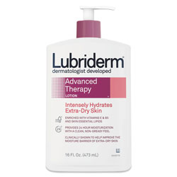 Lubriderm® Advanced Therapy Moisturizing Hand/Body Lotion, 16oz Pump Bottle, 12/Carton