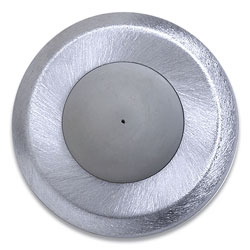 Tell® Convex Wall Bumper, 2.5 in x 0.75 in x 2.5 in, Satin Chrome/Gray