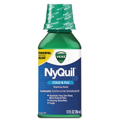 Vicks® NyQuil Cold and Flu NightTime Liquid, 12 oz. Bottle, 12/Case