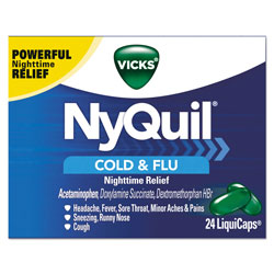 Vicks® NyQuil Cold and Flu NightTime LiquiCaps, 24 Per Pack, 24/Case, 576 Total
