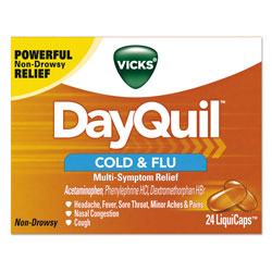 Vicks® DayQuil Cold & Flu LiquiCaps, 24 Per Pack, 24/Case, 576 Total