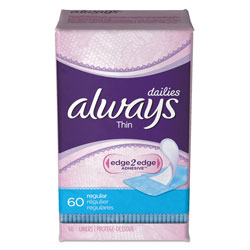 Always® Daily Panty Liners, Thin Regular, Unscented, 60 Per Box