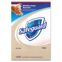 SafeGuard Proessional Bar Soap, Beige, 4 Pack, 4 oz. Each, 12/Case, 48 Total