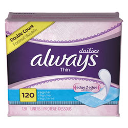 Always® Daily Panty Liners, Thin Regular, Unscented, 120 Per Box, 6/Case, 720 Total