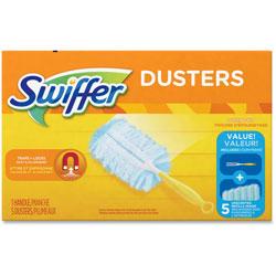 Swiffer Dusters Starter Kit, Dust Lock Fiber, 6 in Handle, Blue/Yellow