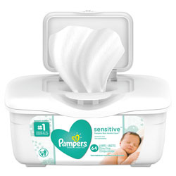 Pampers® Sensitive Wipes Tub, Unscented, 64 Sheets Per Tub, 8/Case, 512 Sheets Total