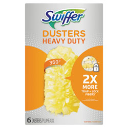 Swiffer Dusters Heavy Duty, Dust Lock Fiber, Yellow, Unscented, 6 Pack Refill, 4/Case, 24 Total