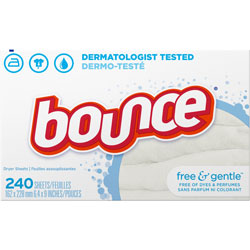 Bounce Free & Gentle Fabric Softener Dryer Sheets, Unscented, 240/Box, 6 Box/Carton