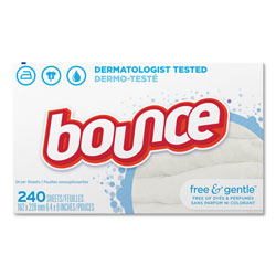 Bounce Dryer Sheets, Free & Gentle Scent, 240 Per Box, 6/Case, 1440 Sheets Total