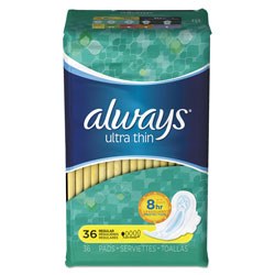 Always® Ultra Thin Pads with Wings, Regular, Unscented, Size 1, 36 Per Box, 6/Case, 216 Total