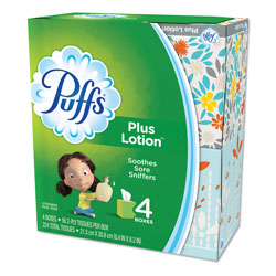 Puffs Plus Lotion Facial Tissue, White, 4 Cube Packs, 56 Sheets Per Cube, 6/Case, 1344 Sheets Total
