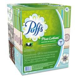 Puffs Plus Lotion Facial Tissue, White, 6 Cube Pack, 124 Sheets Per Cube, 4/Case, 2876 Sheets Total
