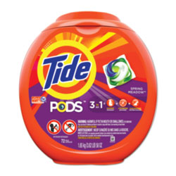 Tide PODS Laundry Detergent Liquid Pacs, High Efficiency Compatible, Spring Meadow Scent, 72 Per Pack, 4/Case, 288 Total